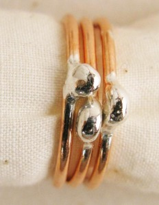Set of 3 copper bands with Sterling silver nuggets ($30).