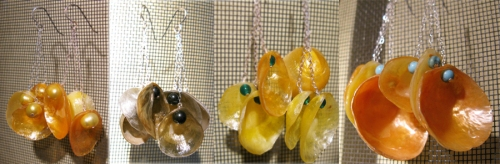 Figure 5:  Jingle ear rings with yellow pearls, with hematite, with green onyx and with turquoise beads (from left to right).