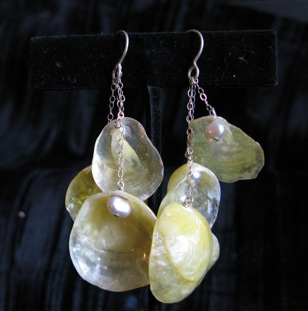 Triple Jingle shell ear rings with pearls