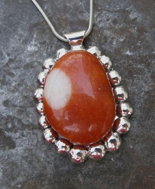 Red Quartzite with White Spot (Sterling Silver setting)