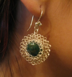 Fine Silver Earrings with Intricate Wire wrapping